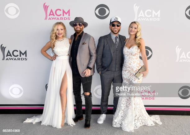 Recording artists Preston Brust and Chris Lucas of LOCASH and guests attend the 52nd Academy of Country Music Awards at Toshiba Plaza on April 2 2017...