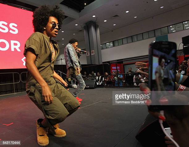 Recording artists Princeton and Mike of Mindless Behavior perform onstage during the Coke music studio during the 2016 BET Experience on June 26 2016...