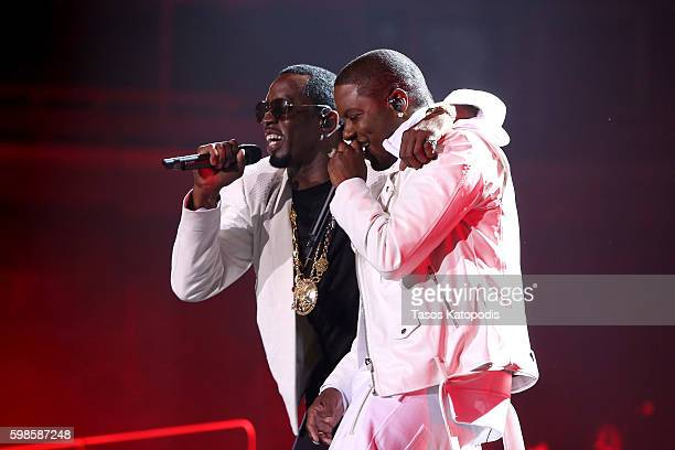 Recording artists Puff Daddy and Mase perform on stage during the Live Nation presents Bad Boy Family Reunion Tour sponsored by Ciroc Vodka,...