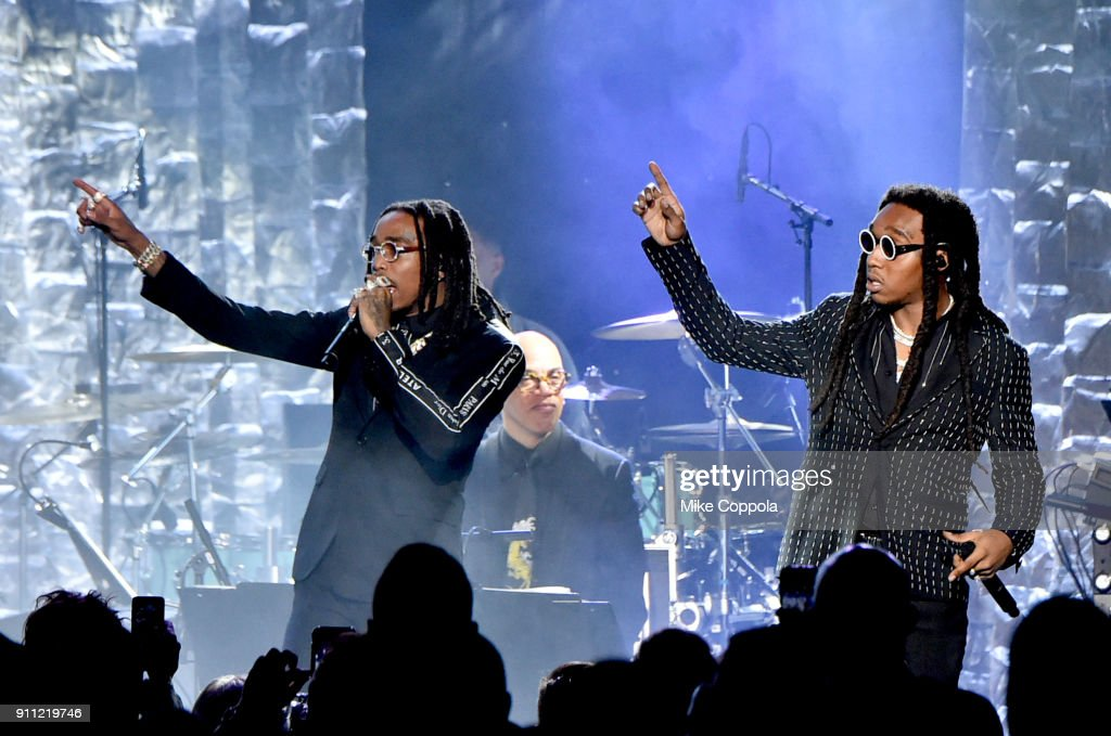 Recording artists Quavo and Takeoff of Migos performs onstage during the Clive Davis and Recording Academy Pre-GRAMMY Gala and GRAMMY Salute to Industry Icons Honoring Jay-Z on January 27, 2018 in New York City.