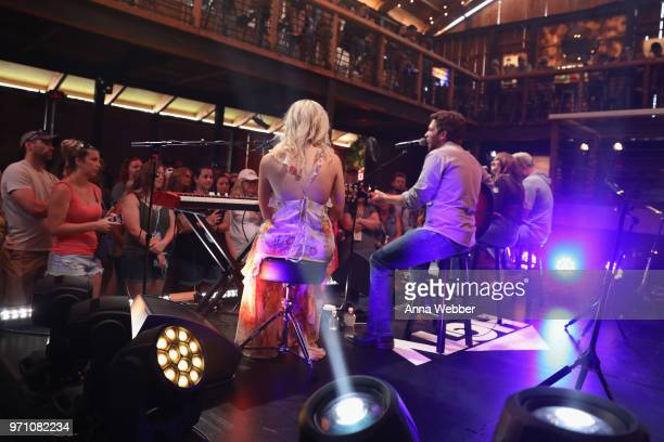 Recording artists Rachel Wammack Carlton Anderson Tenille Townes and Mitchell Tenpenny perform onstage during Sony Discovered in the HGTV Lodge at...