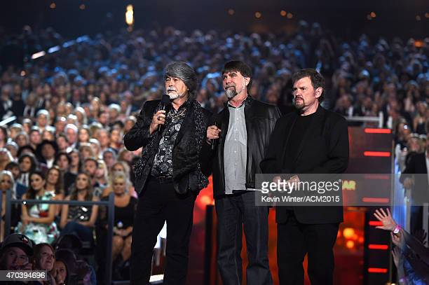 Recording artists Randy Owen Teddy Gentry and Jeff Cook of music group Alabama speak onstage during the 50th Academy of Country Music Awards at ATT...