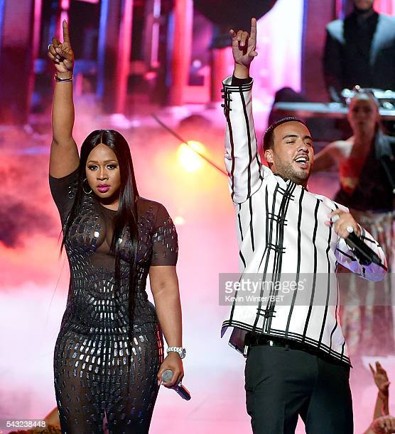 Recording artists Remy Ma and French Montana peform onstage during the 2016 BET Awards at the Microsoft Theater on June 26 2016 in Los Angeles...