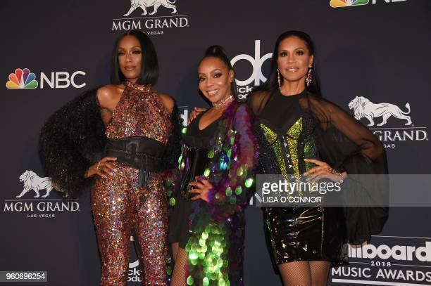Recording artists Rhona Bennett Terry Ellis and Cindy Herron of musical group En Vogue pose in the Press Room during the 2018 Billboard Music Awards...
