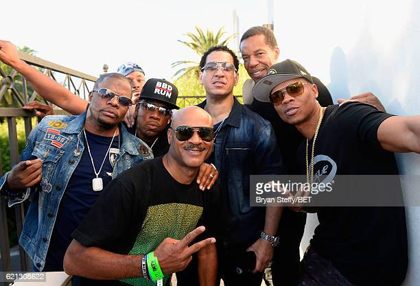 Recording artists Ricky Bell and Michael Bivins of Bell Biv DeVoe Darryl Thompson DJ Kid Capri Soul Train's Tony Cornelius and recording artist...