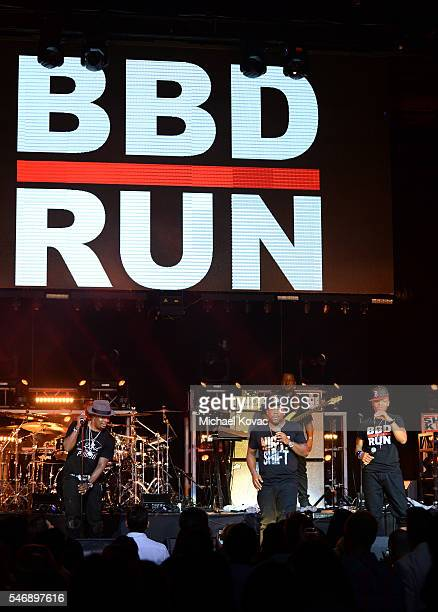 Recording artists Ricky Bell Michael Bivins and Ronnie DeVoe of Bell Biv DeVoe perform onstage at the BODY at ESPYS Event on July 12th at Avalon...