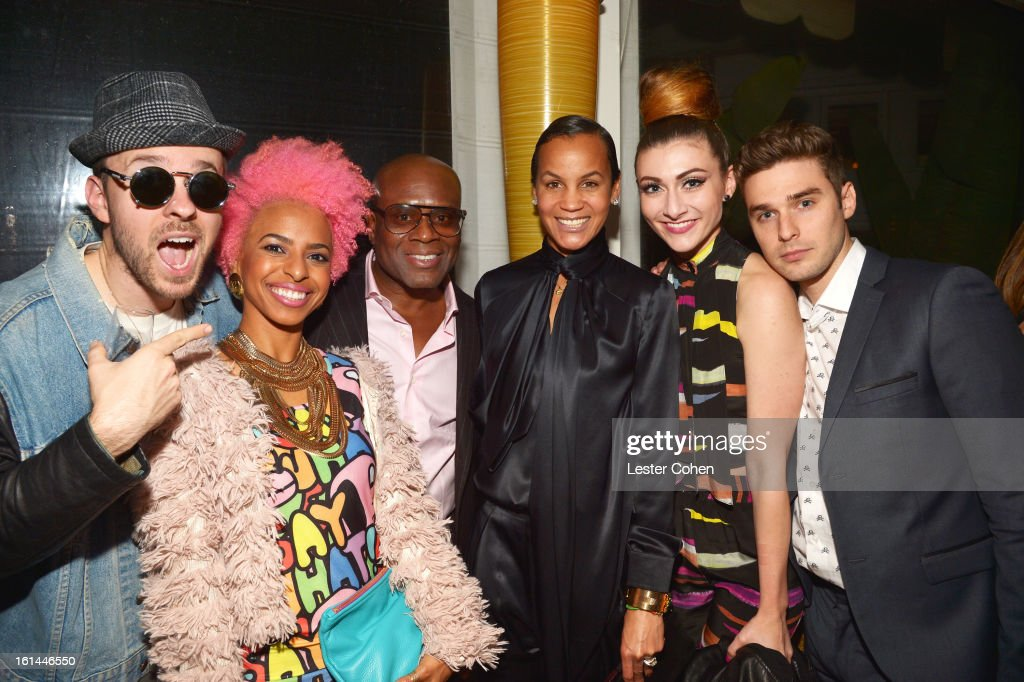 Recording Artists Ricky Reed and Novena Carmel of Wallpaper, Epic Records Chairman/CEO Antonio 'L.A.' Reid, Erica Reid and musicians Amy Heidemann and Nick Noonan of Karmin attend Sony Music Grammy Reception at Bar Nineteen 12 on February 10, 2013 in Beverly Hills, California.