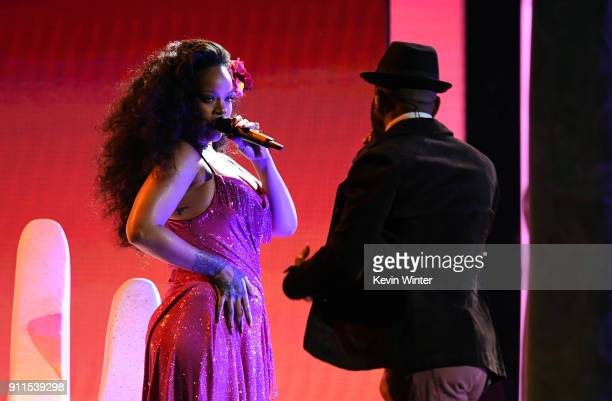 Recording artists Rihanna and Bryson Tiller perform onstage during the 60th Annual GRAMMY Awards at Madison Square Garden on January 28 2018 in New...