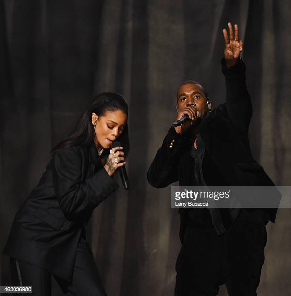 Recording Artists Rihanna and Kanye West perform onstage during The 57th Annual GRAMMY Awards at the STAPLES Center on February 8 2015 in Los Angeles...