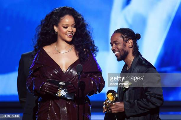 Recording artists Rihanna and Kendrick Lamar accept Best Rap/Sung Performance for 'Loyalty' onstage during the 60th Annual GRAMMY Awards at Madison...