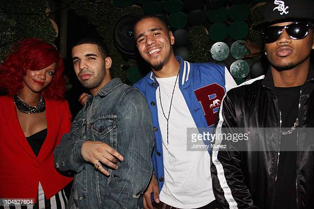 Recording artists Rihanna Drake J Cole and Trey Songz attend Drake's after party at Greenhouse on September 28 2010 in New York City
