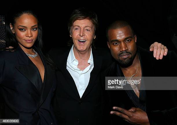 Recording artists Rihanna Paul McCartney and Kanye West attend The 57th Annual GRAMMY Awards at STAPLES Center on February 8 2015 in Los Angeles...