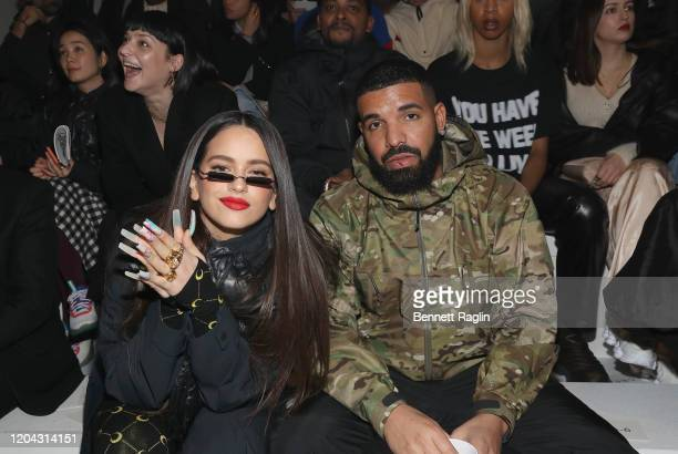 Recording artists Rosalia and Drake attend the 2020 Tokyo Olympic collection fashion show at The Shed on February 05, 2020 in New York City.