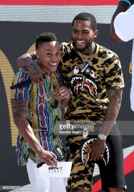 Recording artists Rotimi and Dave East speak onstage at day two of 2017 BETX Live sponsored by McDonald's at Gilbert Lindsey Plaza on June 23 2017 in...