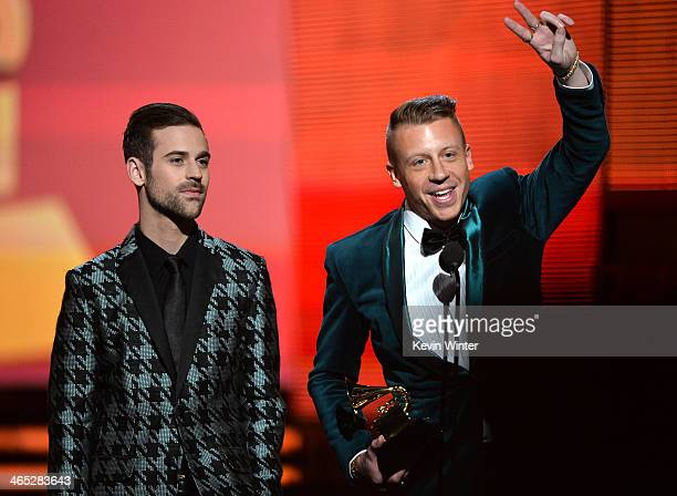 Recording artists Ryan Lewis and Macklemore accept the award for Best New Artist onstage during the 56th GRAMMY Awards at Staples Center on January...