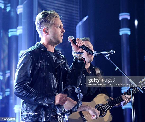Recording artists Ryan Tedder and Zach Filkins of OneRepublic perform onstage during the 2014 Billboard Music Awards at the MGM Grand Garden Arena on...
