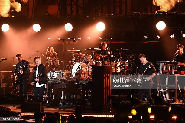 Recording artists Ryan Tedder Brent Kutzle Eddie Fisher Zach Filkins and Drew Brown of OneRepublic perform onstage during CBS RADIO's fourth annual...