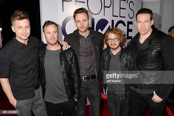 Recording artists Ryan Tedder Eddie Fisher Brent Kutzle Drew Brown and Zach Filkins of the band OneRepublic attend The 40th Annual People's Choice...