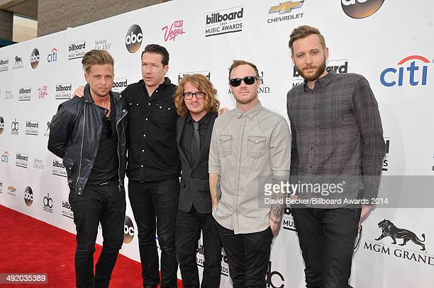 Recording artists Ryan Tedder Zach Filkins Drew Brown Eddie Fisher and Brent Kutzle of OneRepublic attend the 2014 Billboard Music Awards at the MGM...