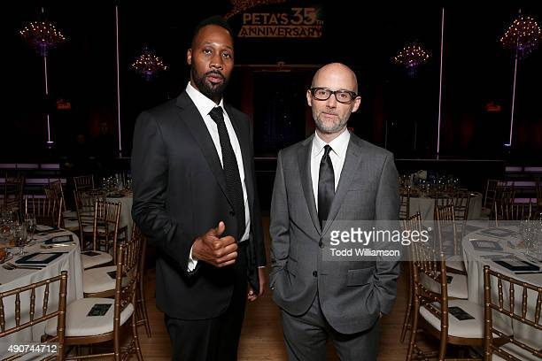 Recording artists RZA and Moby attend PETA's 35th Anniversary Party at Hollywood Palladium on September 30 2015 in Los Angeles California