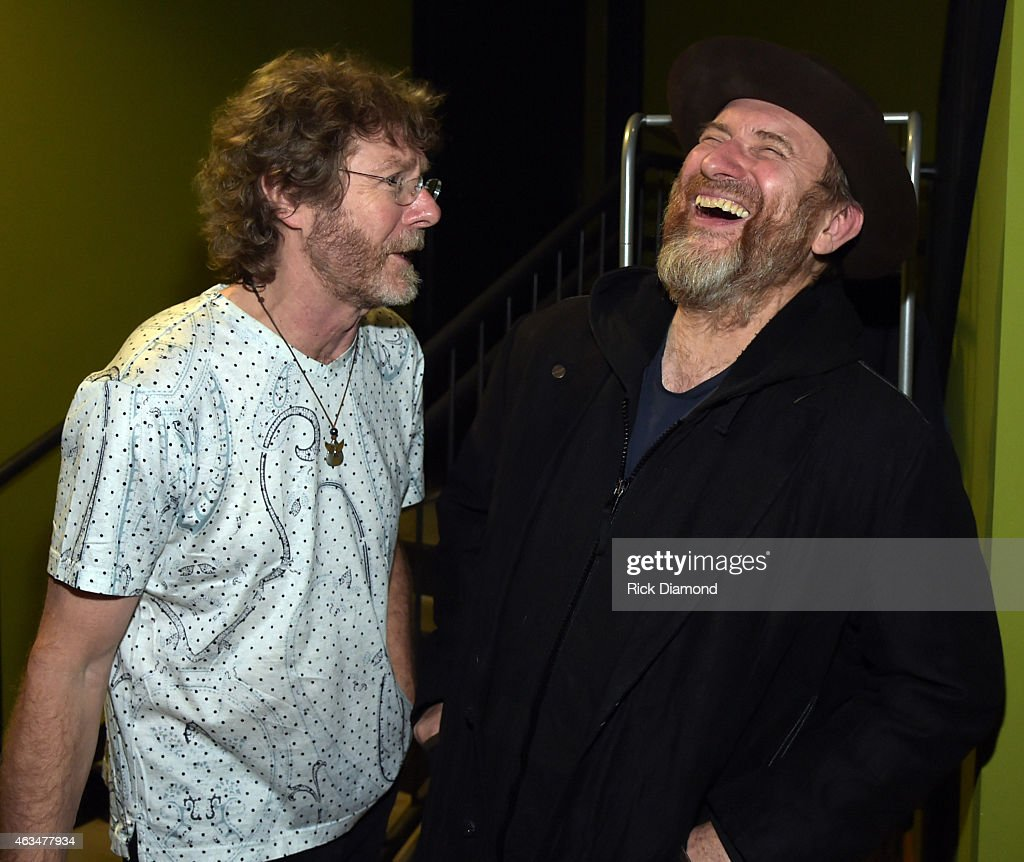 recording artists sam bush and colin hay men at work backstage after valentines day