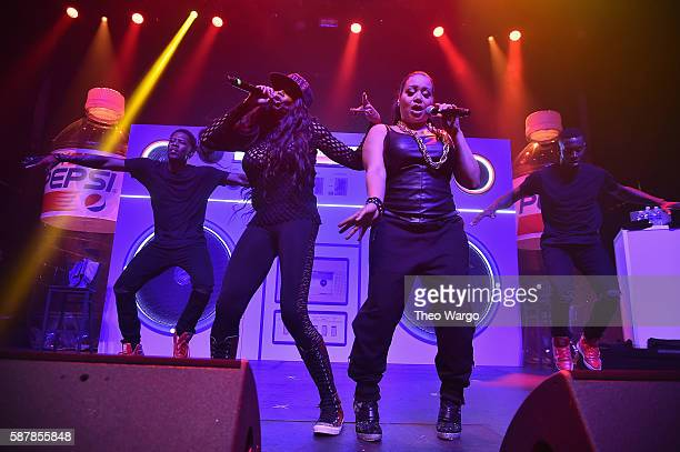 Recording artists Sandra Denton and Cheryl James of SaltNPepa perform onstage during Crystal Pepsi Summer of '92 at Terminal 5 on August 9 2016 in...