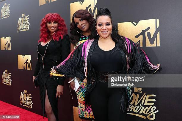 Recording artists Sandra 'Pepa' Denton DJ Spinderella and Cheryl 'Salt' James of SaltNPepa attend the 2016 MTV Movie Awards at Warner Bros Studios on...