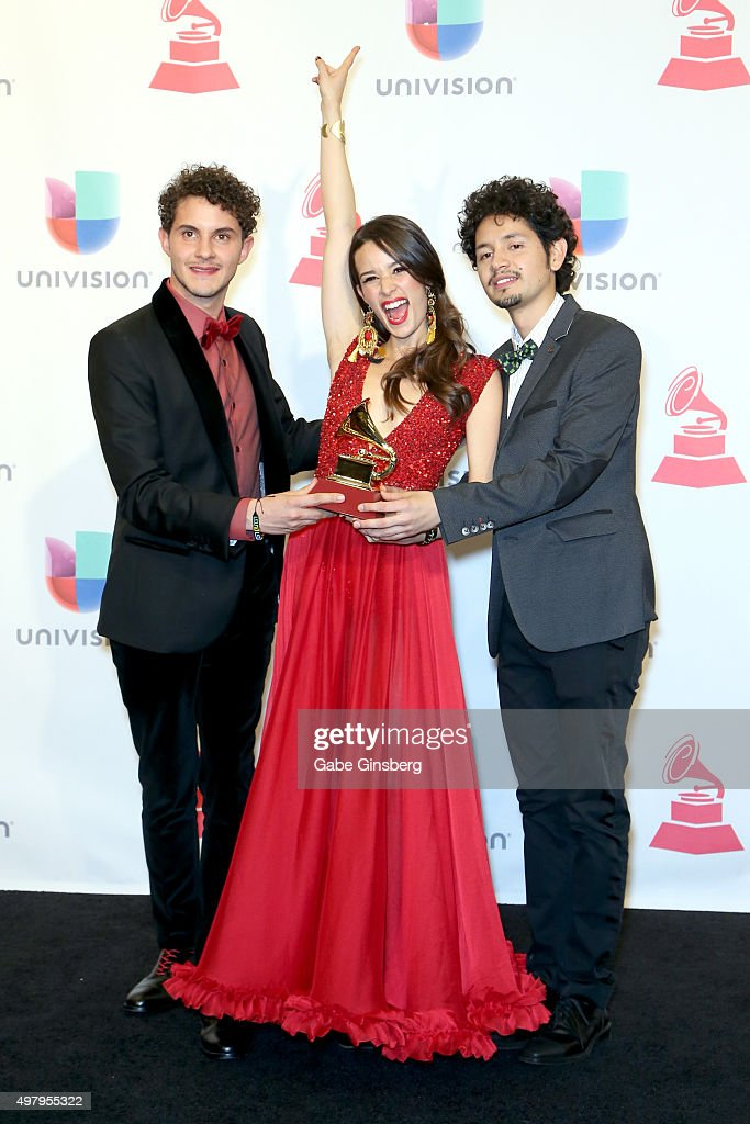 Recording artists Santiago Prieto, Catalina García , and Nicolás Junca of Monsieur Periné, winners of Best New Artist, pose in the press room during the 16th Latin GRAMMY Awards at the MGM Grand Garden Arena on November 19, 2015 in Las Vegas, Nevada.