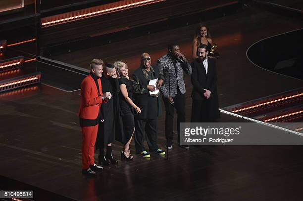 Recording artists Scott Hoying Mitch Grassi Kirstin Maldonado of Pentatonix Stevie Wonder Kevin Olusola and Avi Kaplan speak onstage during The 58th...