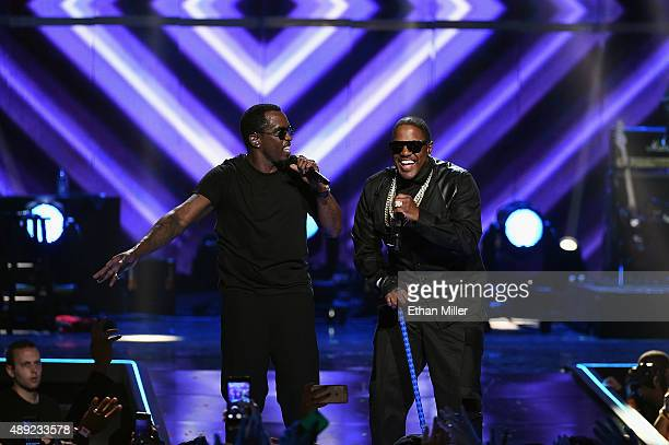 Recording artists Sean Puff Daddy Combs and Mase perform onstage at the 2015 iHeartRadio Music Festival at MGM Grand Garden Arena on September 19...