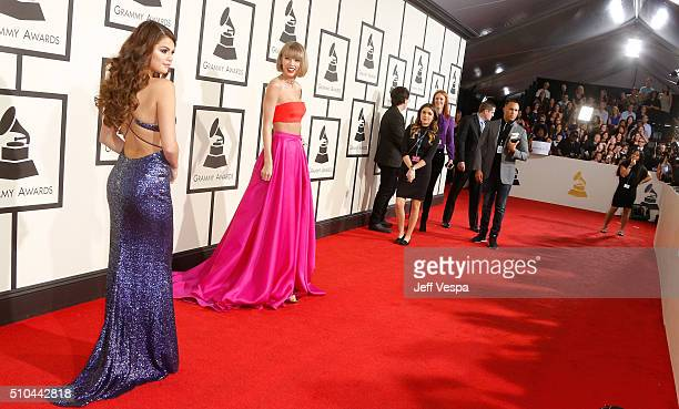 Recording artists Selena Gomez and Taylor Swift attend The 58th GRAMMY Awards at Staples Center on February 15 2016 in Los Angeles California