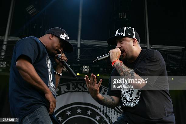 Recording artists Sen Dog and BReal of the group Cypress Hill perform on stage at the Rock The Bells tour on Randall's Island on July 28 2007 in New...