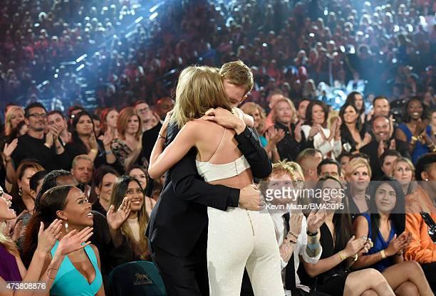 Recording artists Serayah Taylor Swift Calvin Harris and Ed Sheeran attend the 2015 Billboard Music Awards at MGM Grand Garden Arena on May 17 2015...