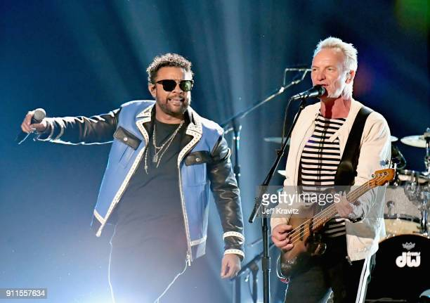 Recording artists Shaggy and Sting performs onstage during the 60th Annual GRAMMY Awards at Madison Square Garden on January 28 2018 in New York City