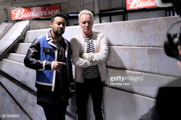 Recording artists Shaggy and Sting pose backstage at the 60th Annual GRAMMY Awards at Madison Square Garden on January 28 2018 in New York City