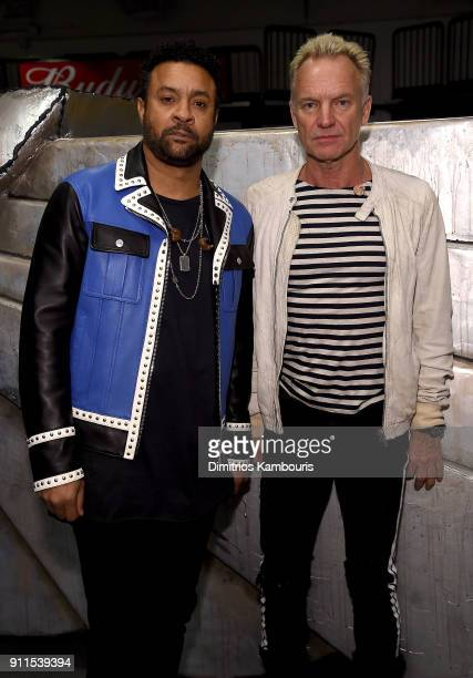 Recording artists Shaggy and Sting pose backstage during the 60th Annual GRAMMY Awards at Madison Square Garden on January 28 2018 in New York City