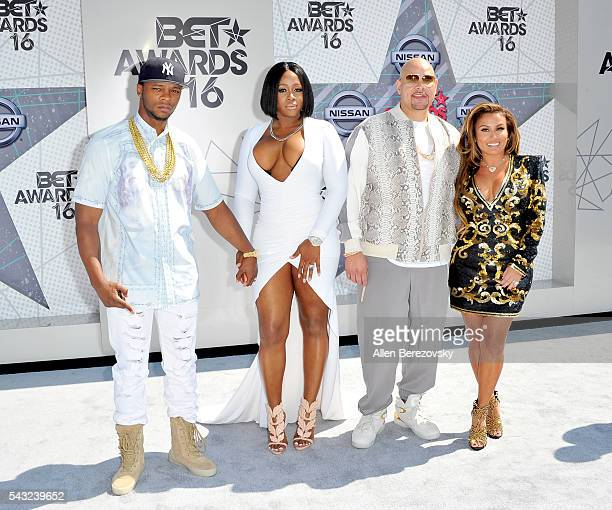 Recording artists Shamele Mackie Remy Ma and Fat Joe and Lorena Cartagena attend the 2016 BET Awards at Microsoft Theater on June 26 2016 in Los...