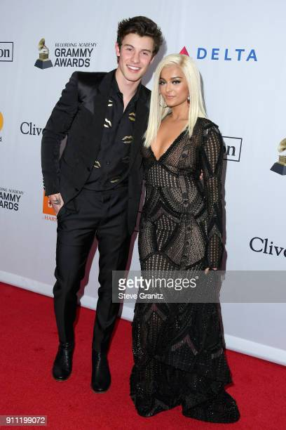 Recording artists Shawn Mendes and Bebe Rexha attend the Clive Davis and Recording Academy PreGRAMMY Gala and GRAMMY Salute to Industry Icons...