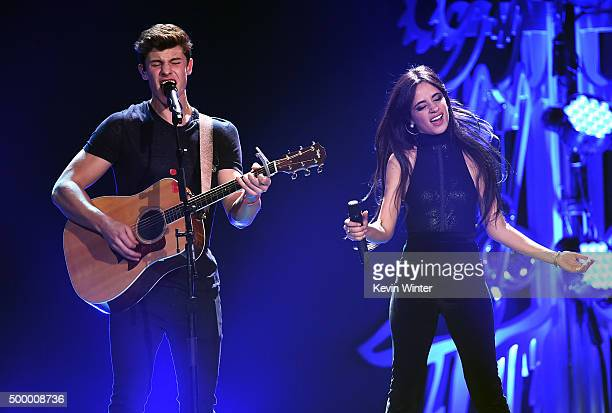 Recording artists Shawn Mendes and Camila Cabello of Fifth Harmony perform onstage during 102.7 KIIS FM's Jingle Ball 2015 Presented by Capital One...