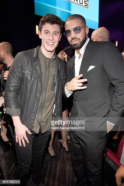 Recording artists Shawn Mendes and Drake perform onstage at the 2016 American Music Awards at Microsoft Theater on November 20 2016 in Los Angeles...