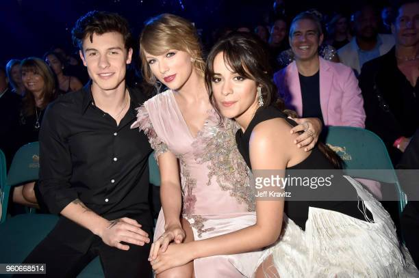 Recording artists Shawn Mendes Taylor Swift and Camila Cabello attend the 2018 Billboard Music Awards at MGM Grand Garden Arena on May 20 2018 in Las...