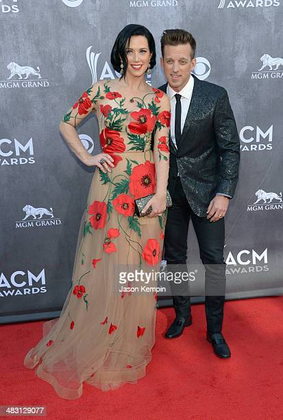 Recording artists Shawna Thompson and Keifer Thompson of music group Thompson Square attend the 49th Annual Academy Of Country Music Awards at the...