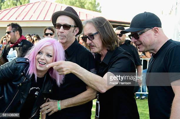 Recording artists Shirley Manson Duke Erikson Butch Vig and Steve Marker of music group Garbage attend KROQ Weenie Roast 2016 at Irvine Meadows...