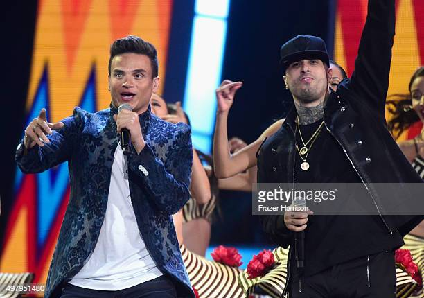 Recording artists Silvestre Dangond and Nicky Jam perform onstage during the 16th Latin GRAMMY Awards at the MGM Grand Garden Arena on November 19...