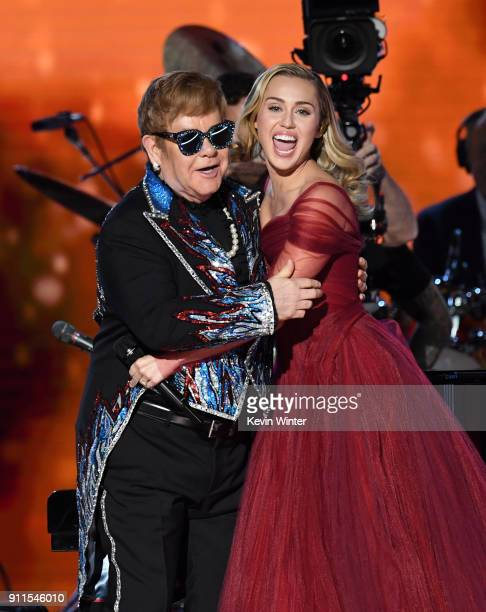Recording artists Sir Elton John and Miley Cyrus perform onstage during the 60th Annual GRAMMY Awards at Madison Square Garden on January 28 2018 in...