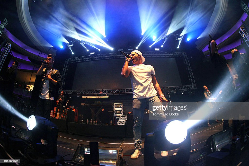 Recording artists Siva Kaneswaran, Nathan Sykes, Max George, Tom Parker and Jay McGuiness of The Wanted perform at the 97.1 Amplify 2013 Concert held at The Hollywood Palladium on April 12, 2013 in Los Angeles, California.