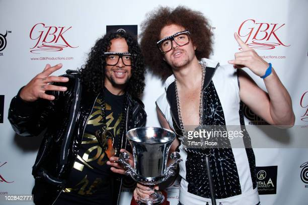 Recording artists SkyBlu and Redfoo of LMFAO attend the GBK ESPY PreParty Gift Lounge at The Playboy Mansion on July 12 2010 in Beverly Hills...