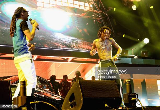 Recording artists Snoop Dogg and Wiz Khalifa perform onstage at night one of the 2017 BET Experience STAPLES Center Concert sponsored by Hulu at...