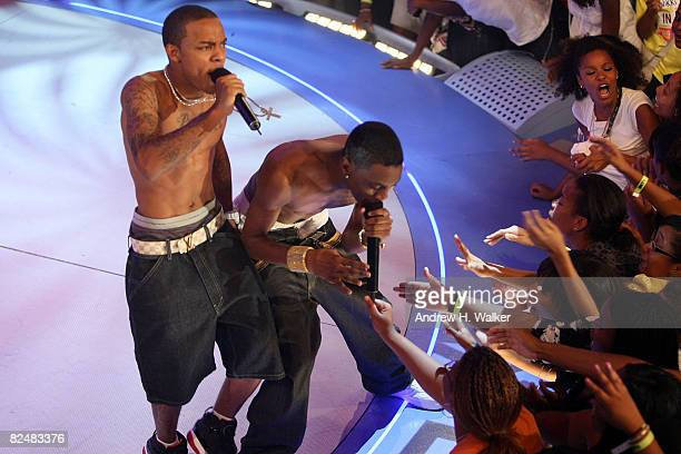 Recording artists Soulja Boy and Bow Wow perform at the taping of the 2000th episode of 106 Park at the BET studios on August 19 2008 in New York City