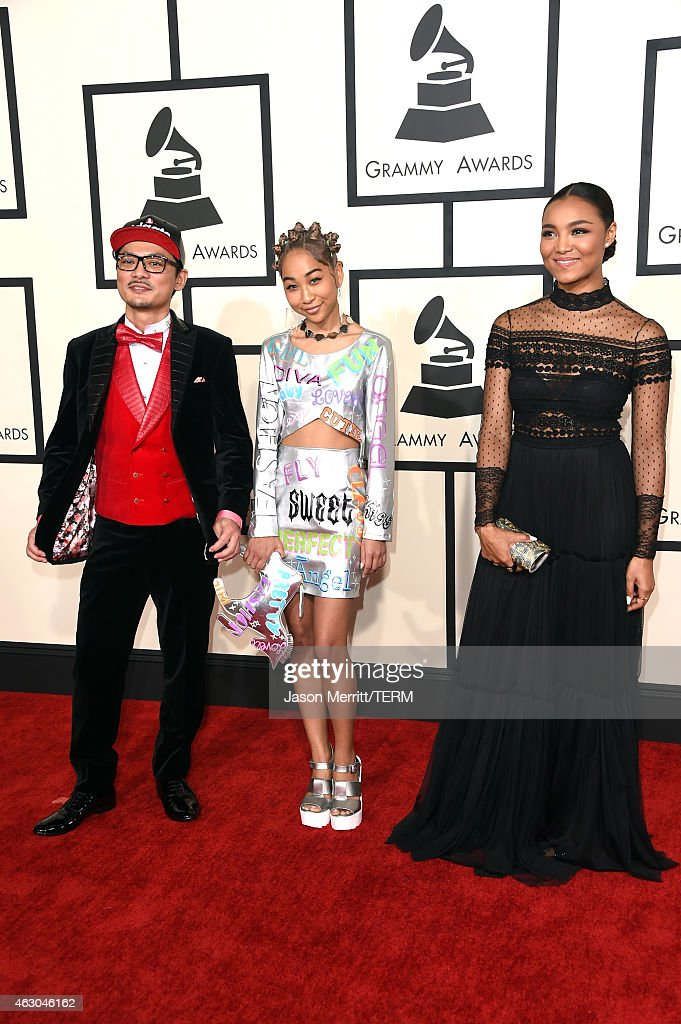 Recording artists Spicy Chocolate, Aoyama Thelma and Crystal Kay attend The 57th Annual GRAMMY Awards at the STAPLES Center on February 8, 2015 in Los Angeles, California.
